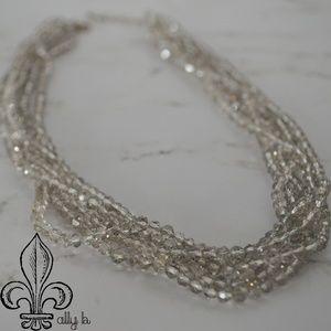 Five strand topaz Swarvoski crystal necklace